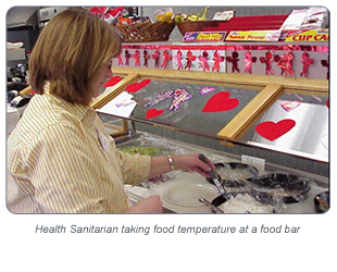 Health Sanitarian taking food temperature at a food bar